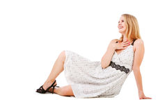 Alluring girl in white dress Royalty Free Stock Photos