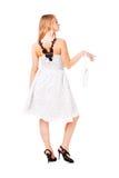 Alluring girl in white dress Stock Image