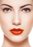 Alluring model with bright classic retro make-up Royalty Free Stock Photo
