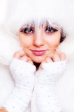 Alluring model in white fur Stock Image
