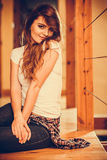 Alluring seductive young woman girl at home. Stock Photo