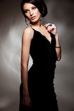 Alluring sexy woman in evening dress Stock Images