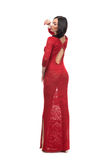 Alluring woman in evening dress posing royalty free stock image