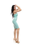 Alluring woman in evening dress posing stock photography