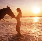 Alluring, slim lady with her majestick horse friend Royalty Free Stock Photos