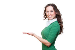 Alluring smiley woman holding something Stock Images