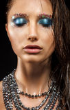Alluring Wet Woman Face - Beads Necklace, Bright Blue Makeup Royalty Free Stock Images