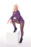 Alluring woman with beautiful legs royalty free stock photography