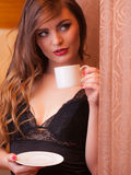 Alluring woman with cup tea. Stock Images
