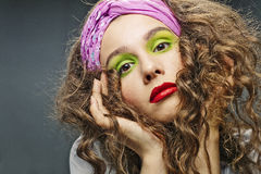 Alluring woman model with luxury fashion make-up Stock Image