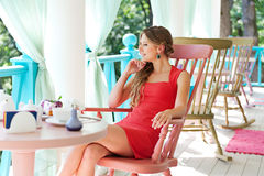 Alluring woman in red dress Royalty Free Stock Photography