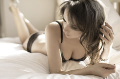 Alluring woman wearing tempting lingerie Royalty Free Stock Photos