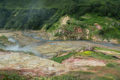 Alluvial plain at drying Geysernoye Lake in Valley of Geysers. Stock Photography