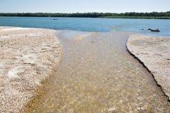 Alluvione di ghiaia sul fiume di Danuber Fotografia Stock