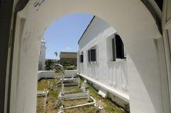 Allvarlig gård för gamla muslim på Abidin Mosque i Kuala Terengganu, Malaysia Arkivfoton
