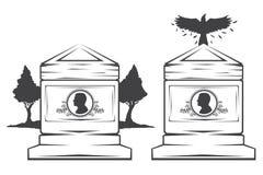 allvarlig gravstenmonument Arkivfoton