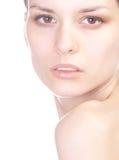 allvarlig kvinna för closeup Fotografering för Bildbyråer