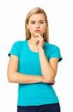 Allvarlig kvinna med handen på hakan Royaltyfri Bild