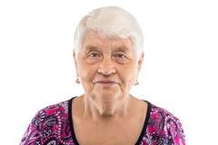 Allvarlig äldre kvinna med vitt hår Arkivbilder