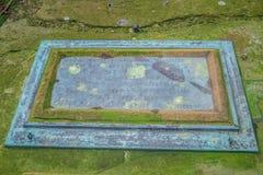 Allvarlig markörplatta i kyrkogård av Peelslotten i ön av mannen Arkivbild