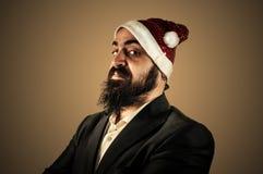 Allvarlig modern elegant Santa Claus babbonatale Arkivfoton