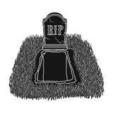 Allvarlig symbol i svart stil som isoleras på vit bakgrund För symbolmateriel för begravnings- ceremoni illustration för vektor vektor illustrationer