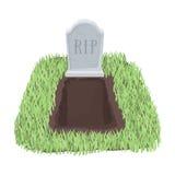 Allvarlig symbol i tecknad filmstil som isoleras på vit bakgrund Symbol för begravnings- ceremoni vektor illustrationer