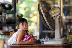 Allvarlig thailändsk liten flicka Royaltyfria Bilder