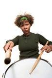 allvarligt barn för afrikansk percussionist Arkivfoto