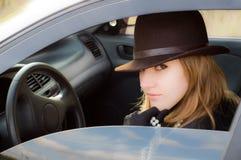 allvarligt barn för chaufför Fotografering för Bildbyråer