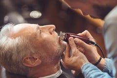 Allvarligt ledar- klippskägg av den åldriga klienten i salongen royaltyfri fotografi