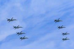 8 Allwetter- ÜberschallKampfflugzeuge Sukhoi Su-24M (Fechter) Stockfotografie