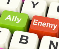 Ally Enemy Keys Mean Partnership And Opposition. Ally Enemy Keys Meaning Partnership And Opposition Royalty Free Stock Photography