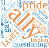 Ally LGBT Word Cloud. On a white background Stock Photos