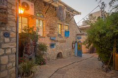 Ally with various signs, in Safed (Tzfat) royalty free stock image