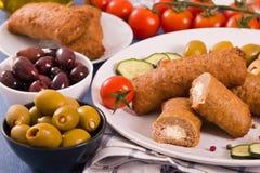 Almôndegas do grego de Bifteki Fotos de Stock Royalty Free
