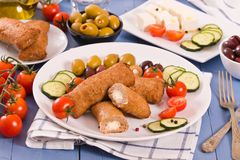 Almôndegas do grego de Bifteki Foto de Stock