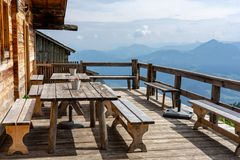 Free Alm Hut Hütte Terrasse In Tyrol With Mountain View Royalty Free Stock Photo - 157141635