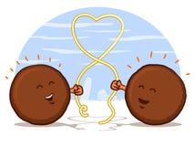 Almôndegas com coração dos espaguetes ilustração do vetor