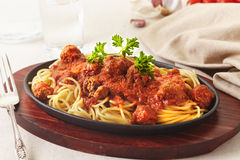 Almôndegas dos espaguetes Fotos de Stock Royalty Free