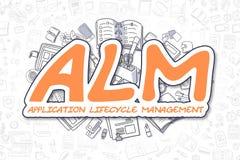 ALM - Texte d'orange de bande dessinée Concept d'affaires Images stock