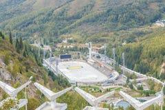 Alma Ata, Kazachstan - Augustus 30, 2016: Hoge berg het schaatsen piste Royalty-vrije Stock Foto