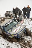 Alma Ata, Kazachstan - Februari 21, 2013. Het Off-road rennen op jeeps, de Autoconcurrentie, ATV. Traditioneel ras Stock Afbeeldingen