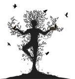 Alma da árvore, espírito da floresta, retorno dos pássaros à árvore viva, ilustração stock