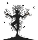 Alma del árbol, alcohol del bosque, vuelta de los pájaros al árbol vivo, stock de ilustración