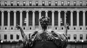 Alma Mater of Columbia University, New York City, USA. Black and white image of Alma Mater of Columbia University in NYC. New York City Columbia University, an stock image