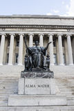 Alma Mater statue in front of the library of Columbia University in Upper Manhattan, New York City Stock Image