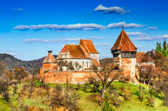 Alma Vii church, Transylvania, Romania. Transylvania, Romania. Medieval rural scenery with fortified churches. Alma Vii christian fortress was built in 16th Royalty Free Stock Photography