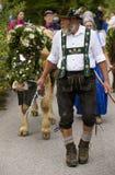 Almabtrieb e Viehscheid in Baviera Fotografia Stock