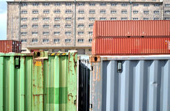 Almacén con el contenedor para mercancías Imagenes de archivo